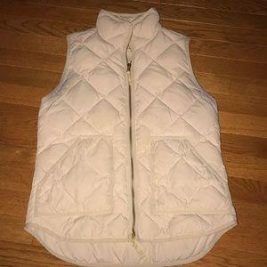 Cream J Crew quilted vest